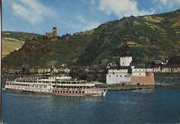 Alte Postkarte - Die Pfalz im Rhein bei Kaub und Burg Gutenfels