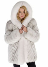 Hooded Blue Fox Fur Jacket for Women Detachable Hood Parka - Chevron Design
