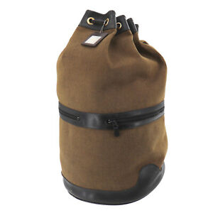 Christian Dior Logos Used One Shoulder Backpack Drawstring Brown Canvas #AB879 O