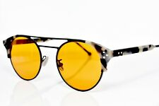 Cutler and Gross Sunglasses Grey Horn Yellow-Orange Lens 1271 08 50-21-145