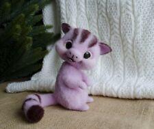 Felted mythical purple brownie Cute creepy doll fantasy creature Fairytale gift
