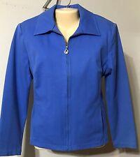 St. John Sport Essentials by Marie Gray Jacket Blue Size Medium VGC Zip Front