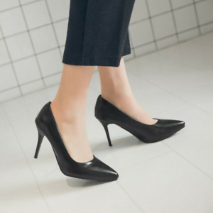 Women High Heels Pointy Toe Leather Casual Shoes Slip On Ol Pump Party Plus Size