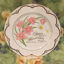 ��George Good Georgian Fine China Plate Anniversary Pink Cymbidium Orchids