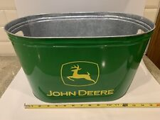 """John Deere Large Metal Tin Party Drink Tub Bucket Clean Condition 16.5"""" Wide"""