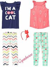 Girls Gymboree HOP N ROLL Neon Air Balloons & Cat Tops, Leggings HairBand Size 4