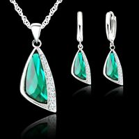 925 Sterling Silver Green Cubic Zirconia Crystal Pendant Necklace Earring Set