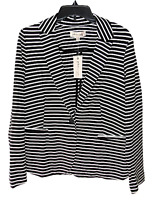 Philosophy Size M  Black and White Striped Knit One Button Blazer Jacket