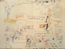 Saul Steinberg lithograph rare signed 1972 22x15 color church