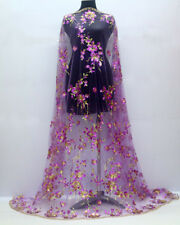"""1 Meter Flower Sequins Mesh Embroidery Purple Dress Bridal Lace Fabric Wide 54"""""""