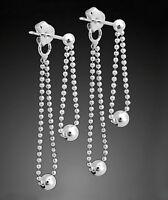 925 ECHT SILBER *** Kugelkette Doppel-Ohrstecker Ohrringe Ohrhänger 35 mm