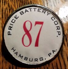 Hamburg PA Price Battery Corp. Employee Badge Vintage