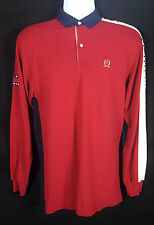 Vtg Tommy Hilfiger Long Sleeve Polo Rugby Shirt Men's XL Cotton Patch Embroidery