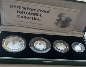 1997 Royal Mint  Silver Proof  Britannia Set  Boxed GREAT EXAMPLE  See Pictutes