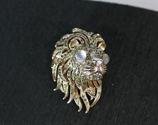 KJL Kenneth Jay Lane Lion Head Pin Brooch , 1960s Rhinestone Cabochon Eyes