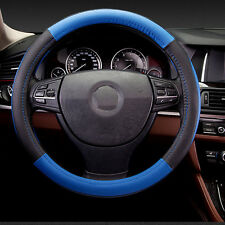 """Universal Leather Steering Wheel Cover 15"""" Fit Car Truck Cool Size M Black+Blue"""