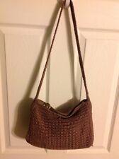 The Sak Brown Coffee Taupe Tan Knit Purse Handbag Shoulder Bag Satchel Tote