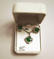 Diamond Accent & Simulated Emerald Flower Necklace and Earrings Set - BRAND NEW
