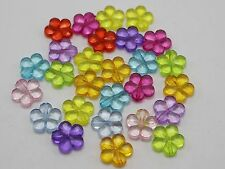 100 Mixed Colour Transparent Acrylic Faceted Flower Charm Beads 14mm