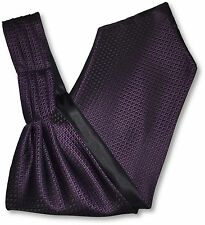 Mens Black 'Under Shirt' Cravat Tie Royal Ascot with Purple Corner Check