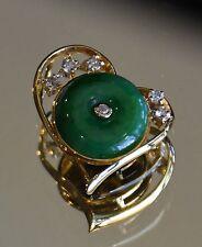 "UNIQUE! CERTIFIED TYPE A emerald green ""donut"" Jadeite Jade Diamond Pendant 18K"