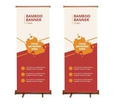 Bamboo Retractable Roll Up Banner Stand 30'' x 78'' Eco Friendly Tradeshow Stand