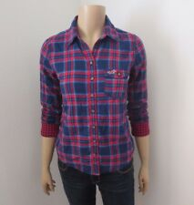 Hollister Womens Plaid Shirt Size Small Top Button Down Blouse Blue & Red