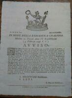 1798 MODENA REPUBBLICA CISALPINA AVVISO SU COMMERCIANTI APPROFITTATORI