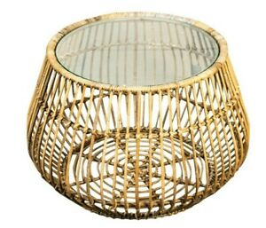 Handmade Rattan Coffee Round Side Table 63cm with Glass Top for Living Areas