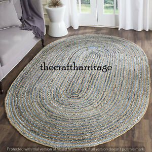 Braided Rug Oval Denim Jute Floor Mat Handmade Reversible Area Rug 3x4 Feet