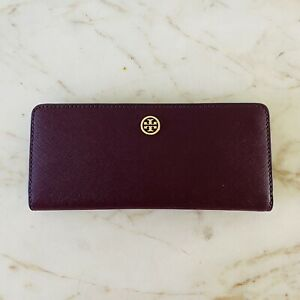 TORY BURCH Robinson Solid Burgundy Leather Slim Continental Wallet