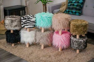 NEW FURRY WOODEN LEG FOOTSTOOL OTTOMAN POUFFE STOOL FOOTREST PADDED SEAT FUR