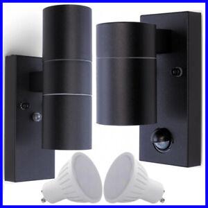 5W GU10 Up Down Black Wall Security Outdoor Light PIR Motion Dusk Dawn Sensor