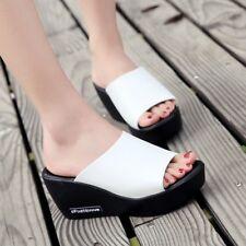 Ladies Platform Wedge Heels Slippers Sandals Casual Peep Toe Beach Shoes Slides