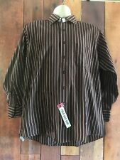 Men's IZOD 100% Cotton Brown Stripe Long Sleeve Button Down Shirt 16 1/2 32/33 L