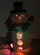 Vintage 1970's 8� Ceramic Lighted Texture Snowman Christmas Holiday Lantern