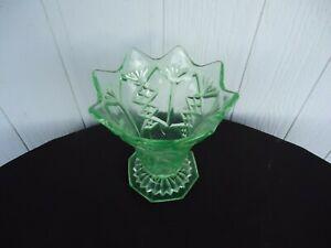 vintage antique art deco green depression glass vase