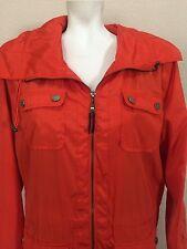 Tommy Hilfiger Orange Hooded Windbreaker Light Weight Jacket Coat Wmn L