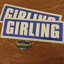 GIRLING Classic Retro Goodwood fans Car Stickers Decals 200mm 2 off