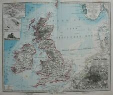 Original antique map BRITISH ISLES, HELIGOLAND, LONDON PLAN, Stieler, 1886