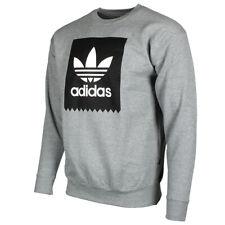 Adidas Originals Hombre Trébol Logo Sudadera Polar de cuello redondo Blackbird