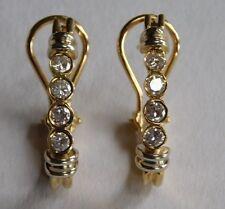 14k Yellow White Gold Bezel Set Diamond Hoop Huggie Drop Omega Back Earrings