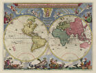 """Beautiful Vintage Old World Map 1664 CANVAS PRINT 24""""X18"""" Poster"""