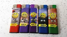 *** 5 X Smile Face  Electric Refilable Lighters Perfect For Gift  ***