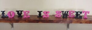 Love is Sweet wedding decor   For Sweets Table Or Candy Bar - Pink & Black