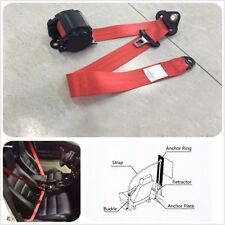 1 x 3 Point Seat Belt Lap & Diagonal Belt Red Retractable