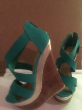 Just Fab justfab platform wedge teal/ turquoise casual sandals size 8 women's