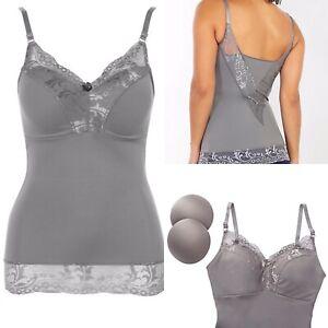Rhonda Shear Pin Up Camisole Size L Silver/Gray Spandex Shaping