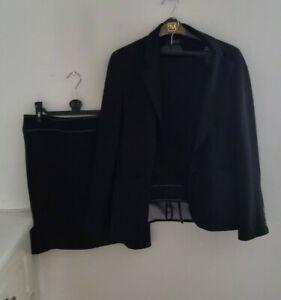 Ladies Debenhams Black 3 Piece Skirt Trousers Jacket Suit Size UK  12 + 14