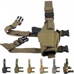 Tactical Pistol Gun Drop Leg Thigh Holster Pouch Bag Holder W/ Magazine Pouch